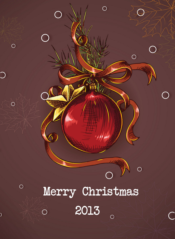 Christmas Vector Illustration With Globe,fir And Bow