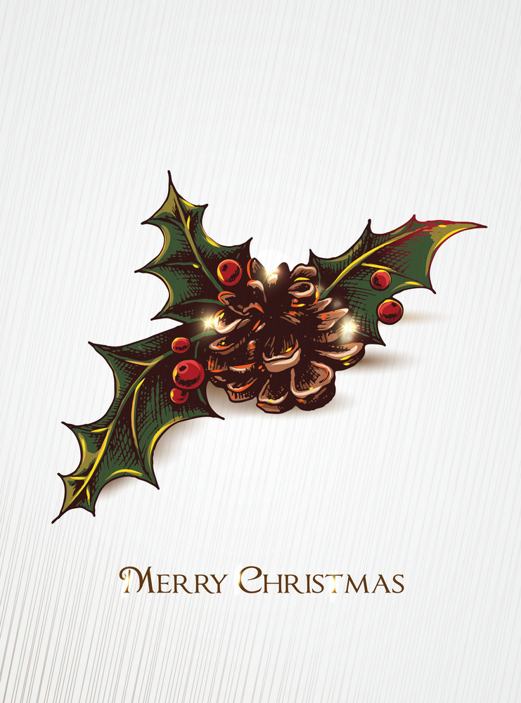 Christmas Vector Illustration With Holly Berry And Pine Cone