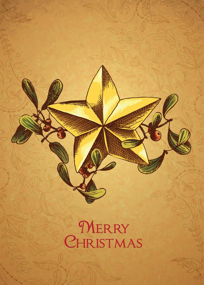 Christmas Vector Illustration With Mistletoe And Star