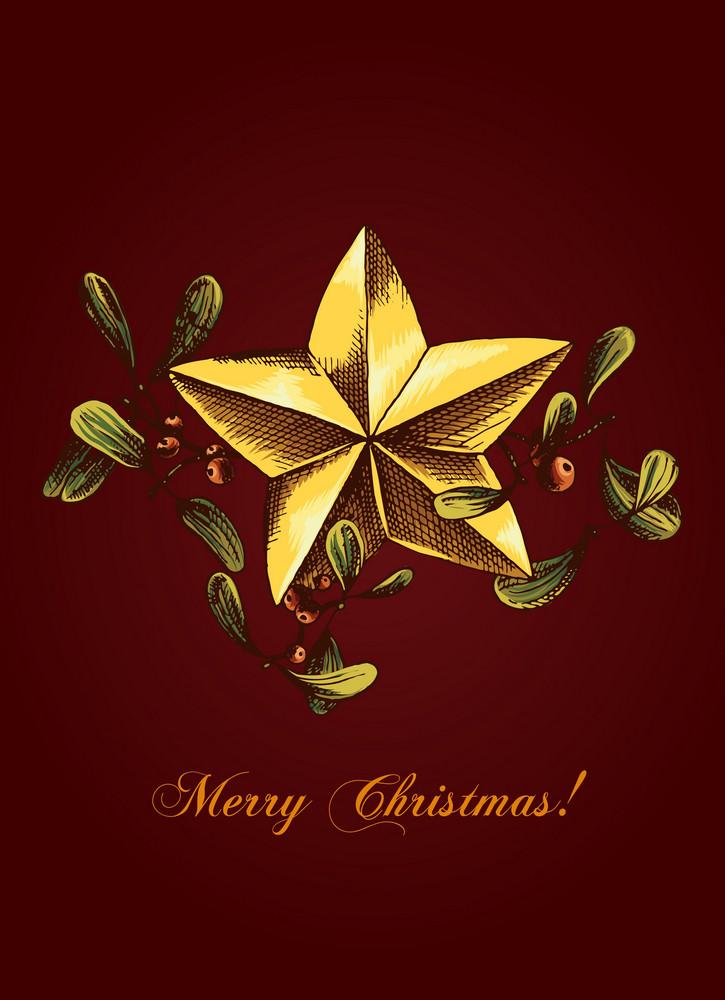 Christmas Vector Illustration With Mistletoe