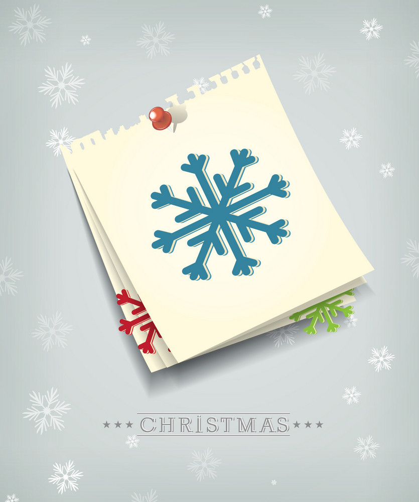 Christmas Vector Illustration With Paper Sheets And Snowflake