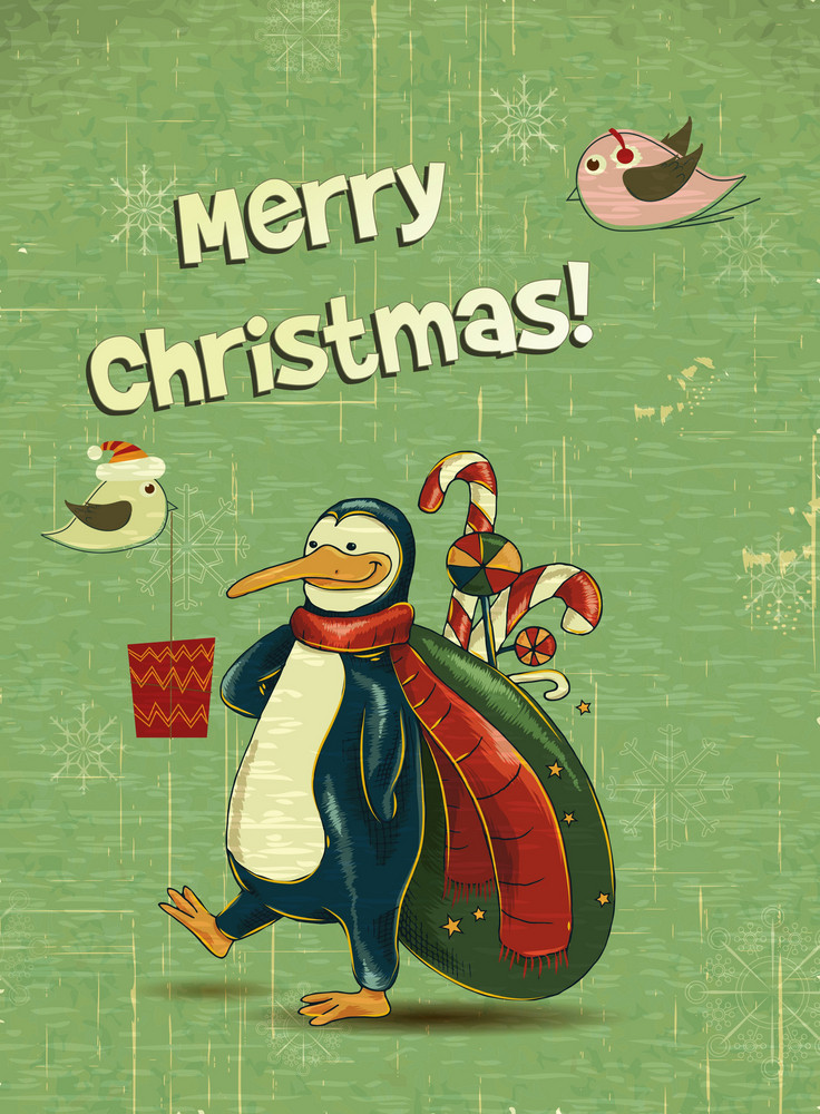 Christmas Vector Illustration With Penguins