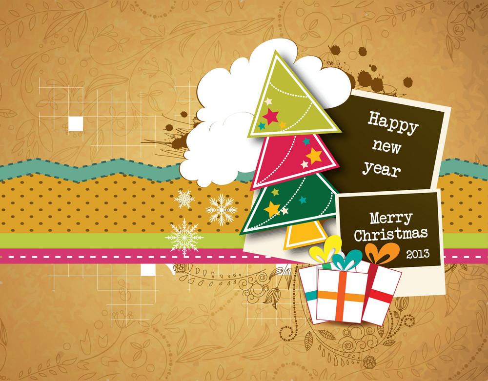 Christmas Vector Illustration With Photo Frame And Christmas Tree