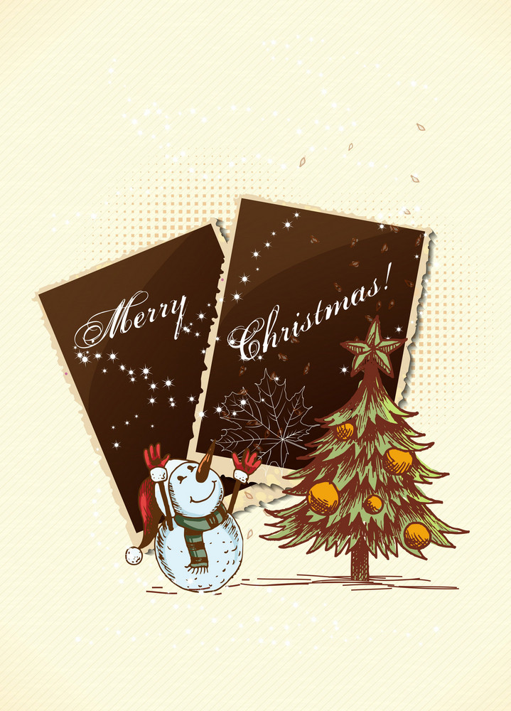 Christmas Vector Illustration With Photo Frame