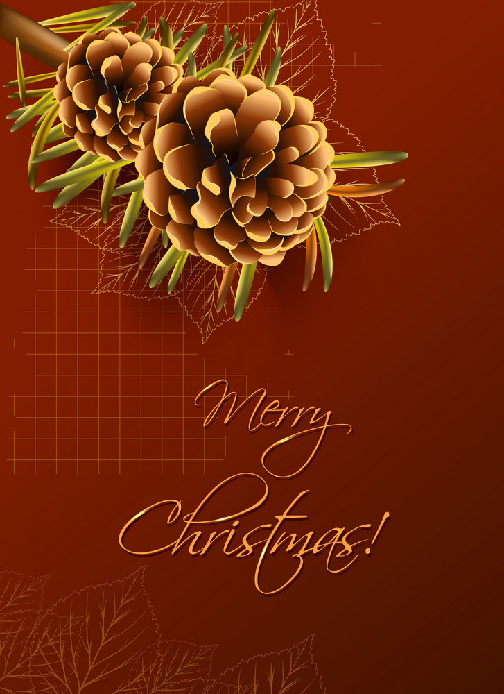 Christmas Vector Illustration With Pine Cone And Fir