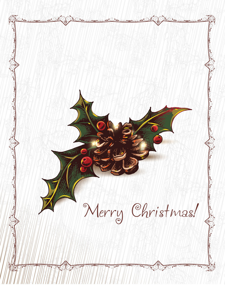Christmas Vector Illustration With Ribbon And Holly Berry