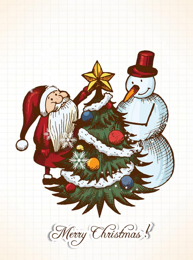Christmas Vector Illustration With Santa And Snow Man