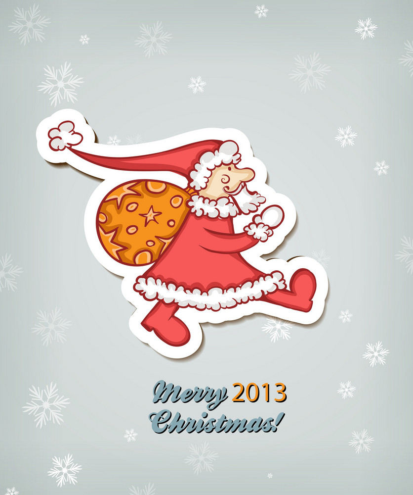 Christmas Vector Illustration With Santa Sticker
