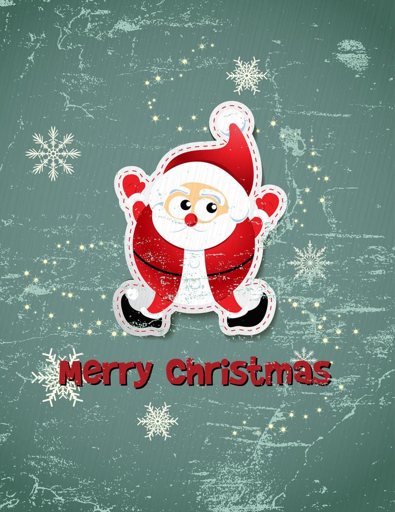 Christmas Vector Illustration With Santa