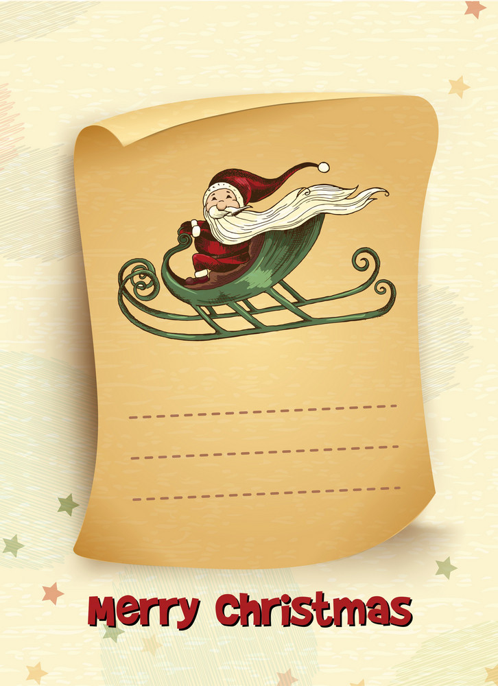 Christmas Vector Illustration With Scroll And Santa