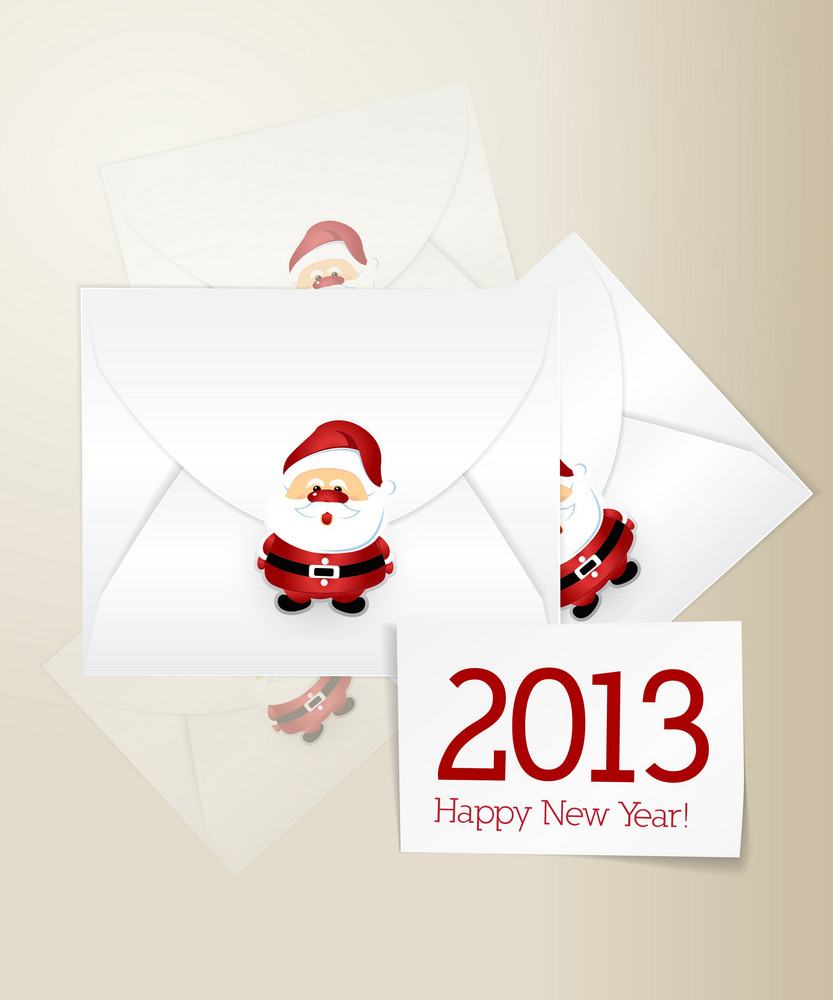 Christmas Vector Illustration With Sheets Of Paper And Santa Sticker