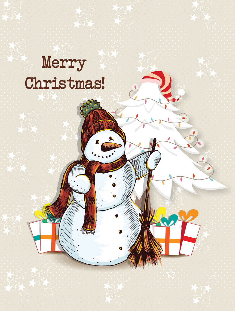 Christmas Vector Illustration With  Snow Man And Christmas Tree