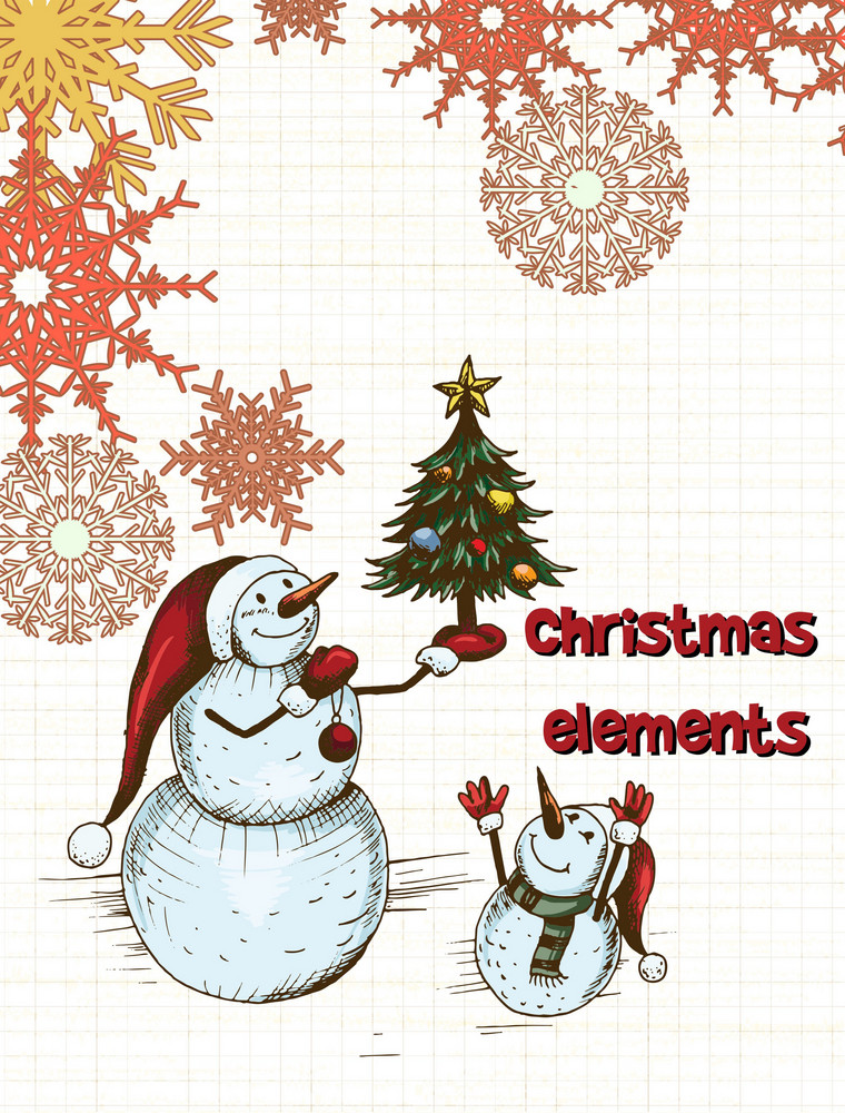 Christmas Illustration.Christmas Vector Illustration With Snow Man And Christmas