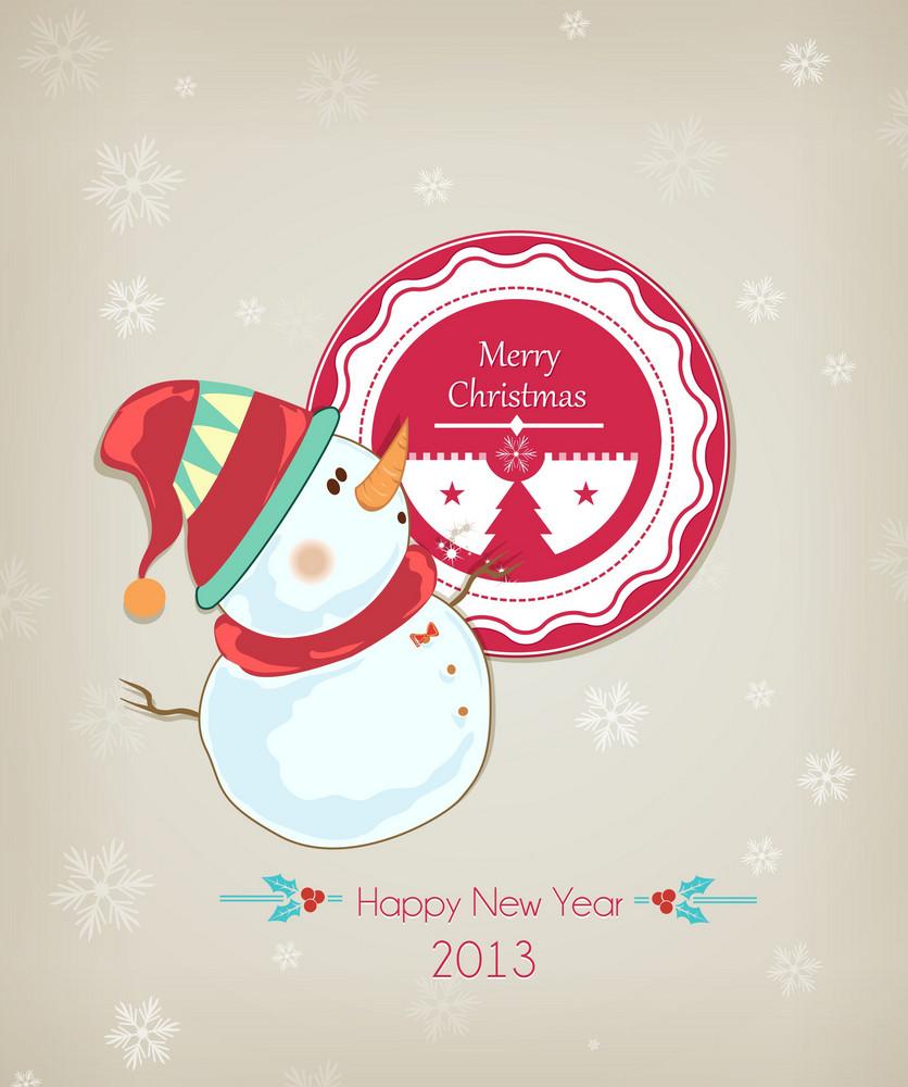 Christmas Vector Illustration With Snowman And  Christmas Badge