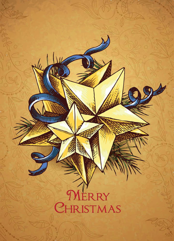 Christmas Vector Illustration With Star And Bow