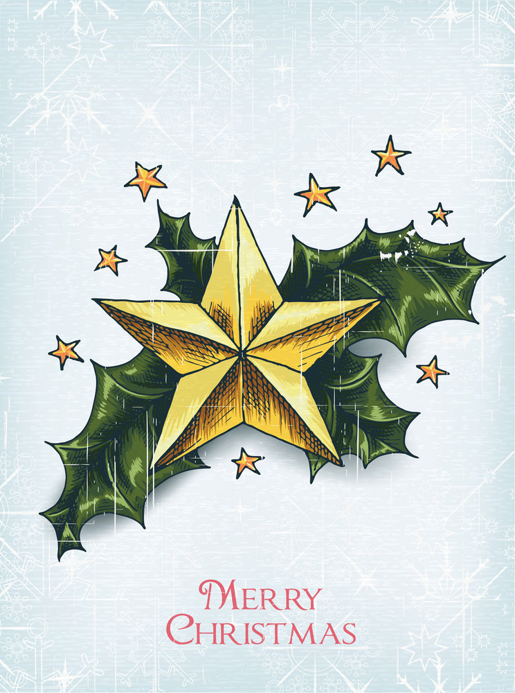 Christmas Vector Illustration With Star And Holly Berry