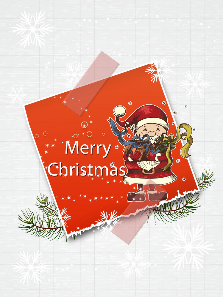 Christmas Vector Illustration With Sticker And Candle