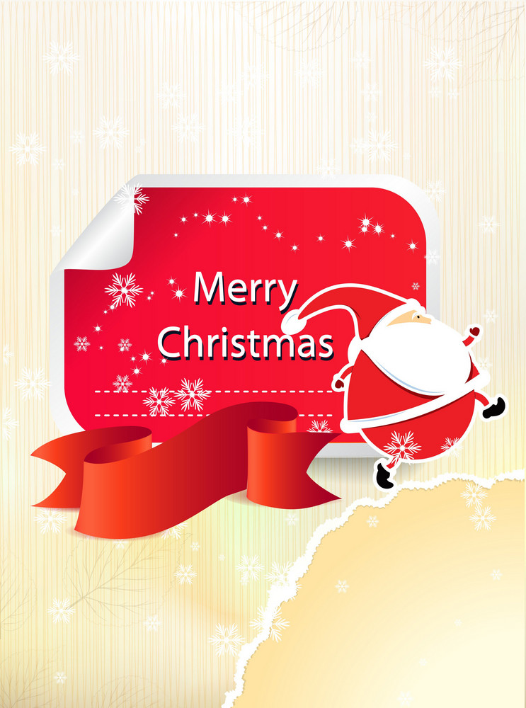 Christmas Vector Illustration With Sticker And Ribbon