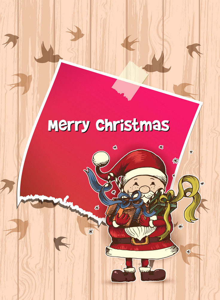 Christmas Vector Illustration With Sticker And Santa