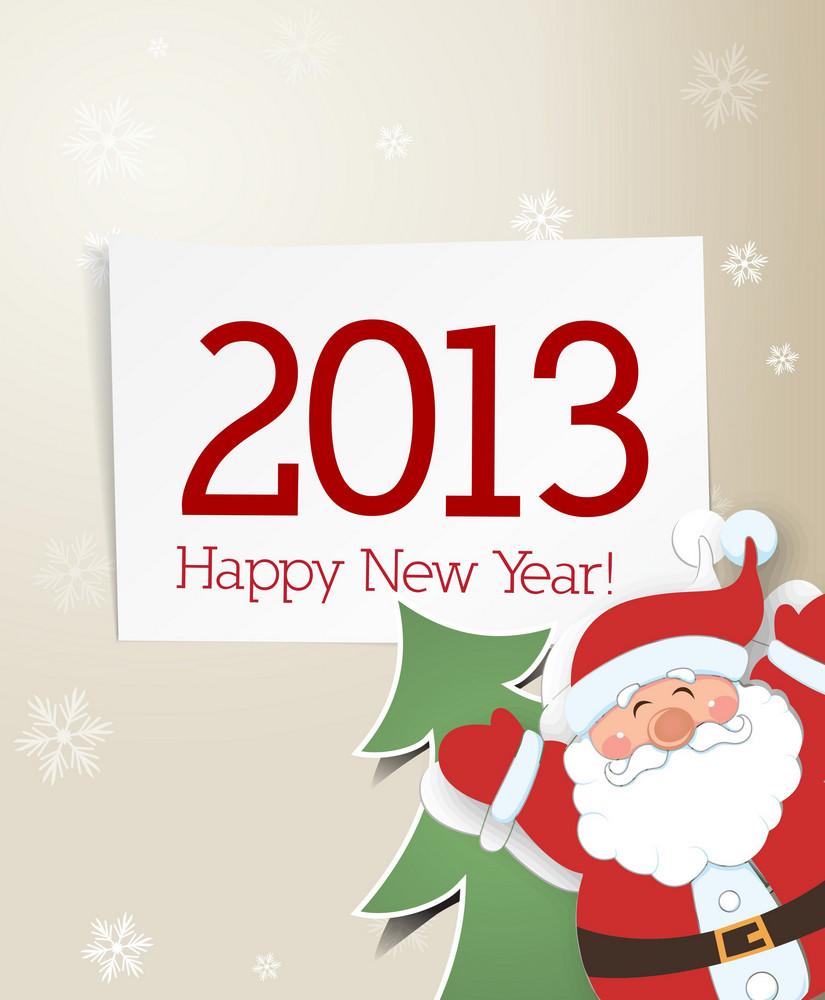 Christmas Vector Illustration With Sticker Christmas Tree And Santa