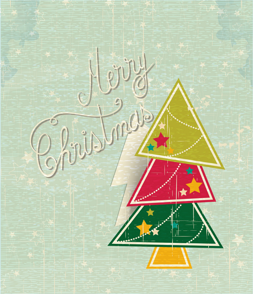 Christmas Vector Illustration With Sticker Christmas Tree