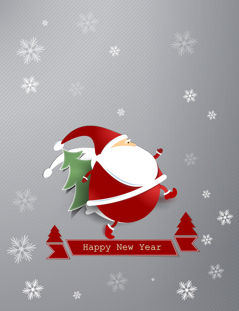 Christmas Vector Illustration With Sticker Santa And Christmas Tree