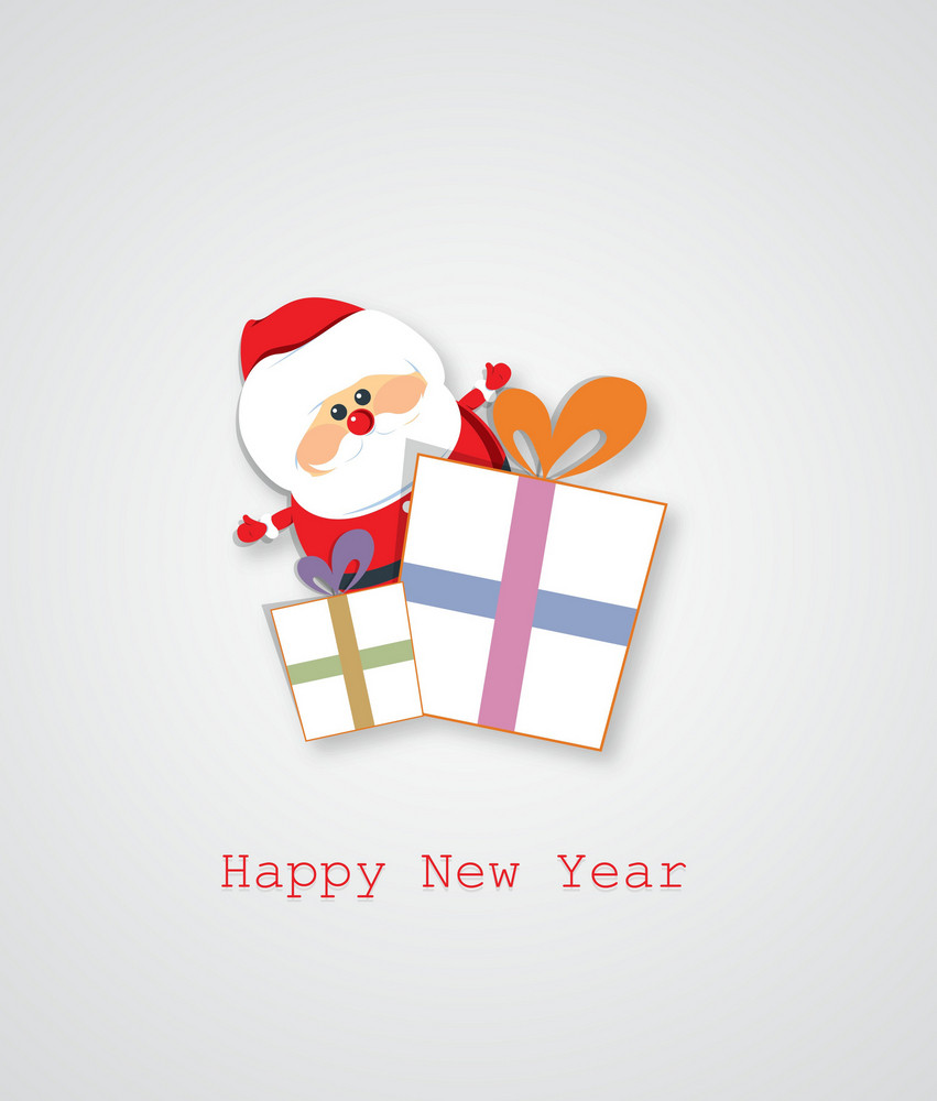Christmas Vector Illustration With Sticker Santa And Gift