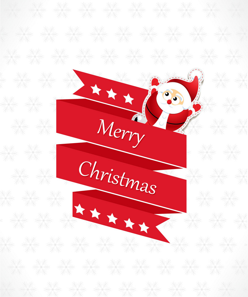 Christmas Vector Illustration With Sticker Santa And Origami Bow