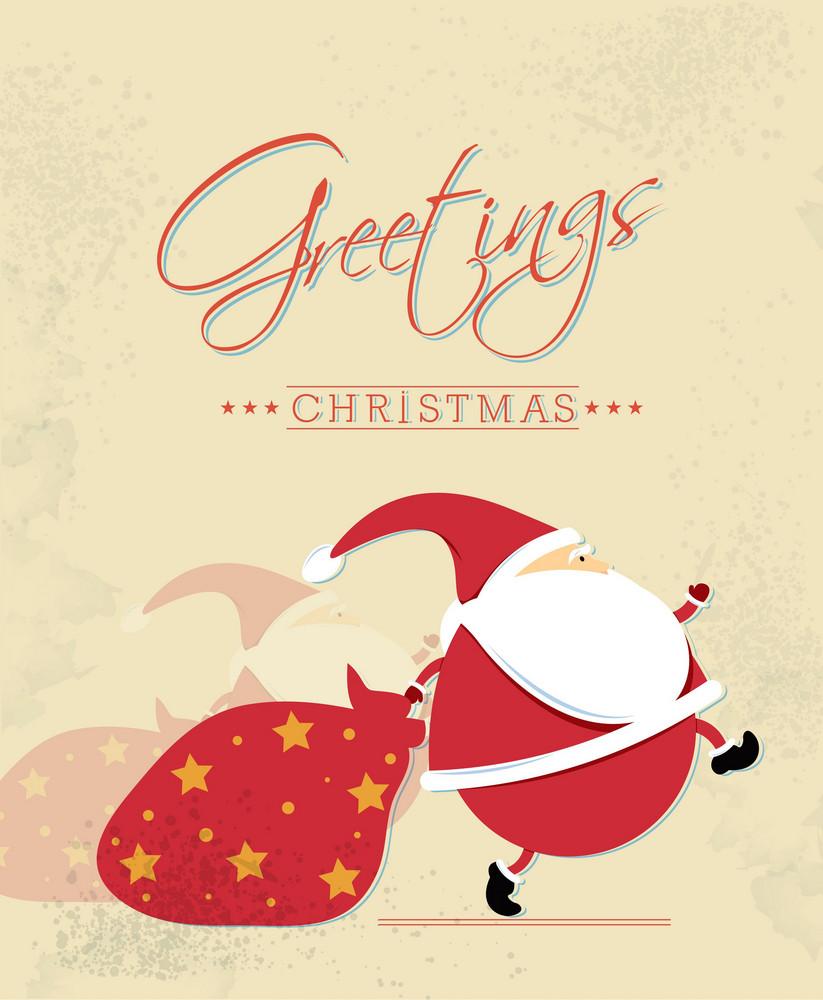 Christmas Vector Illustration With Sticker Santa