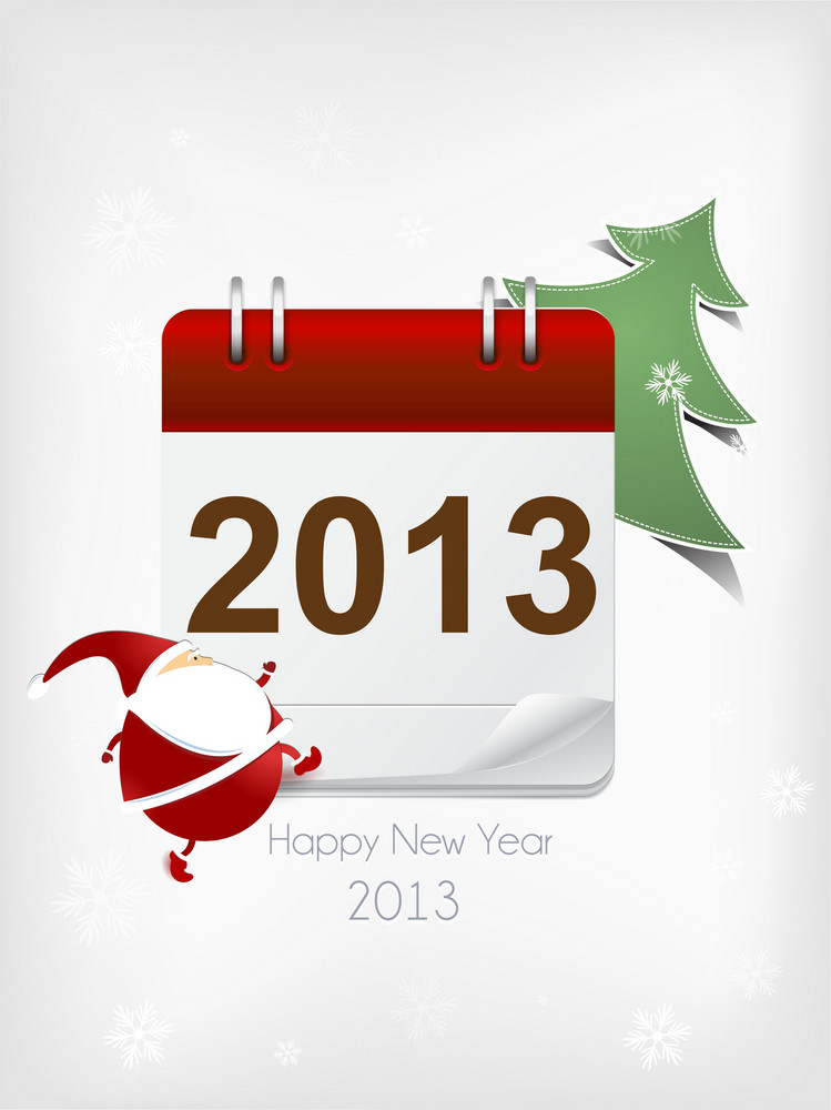 Christmas Vector Illustration With Sticker Santa,christmas Tree And Calendar