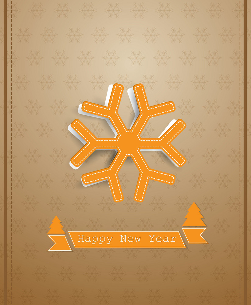 Christmas Vector Illustration With Sticker Snowflake