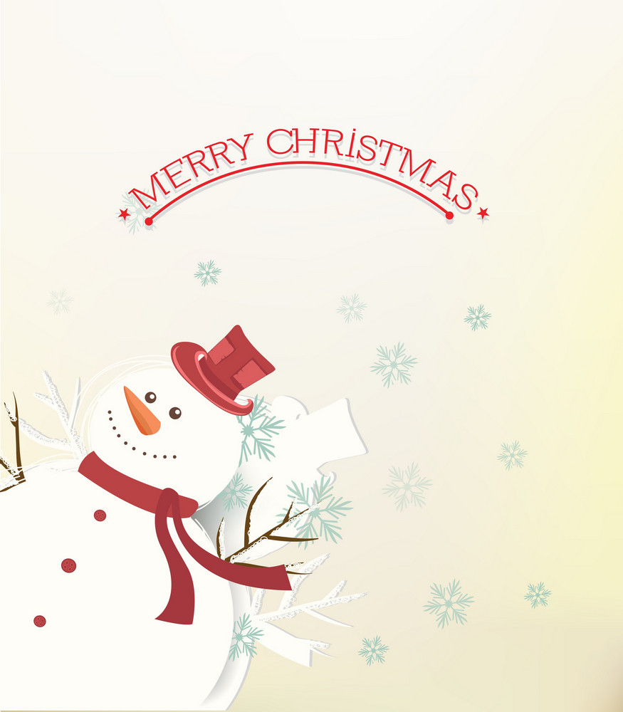 Christmas Vector Illustration With Sticker Snowman