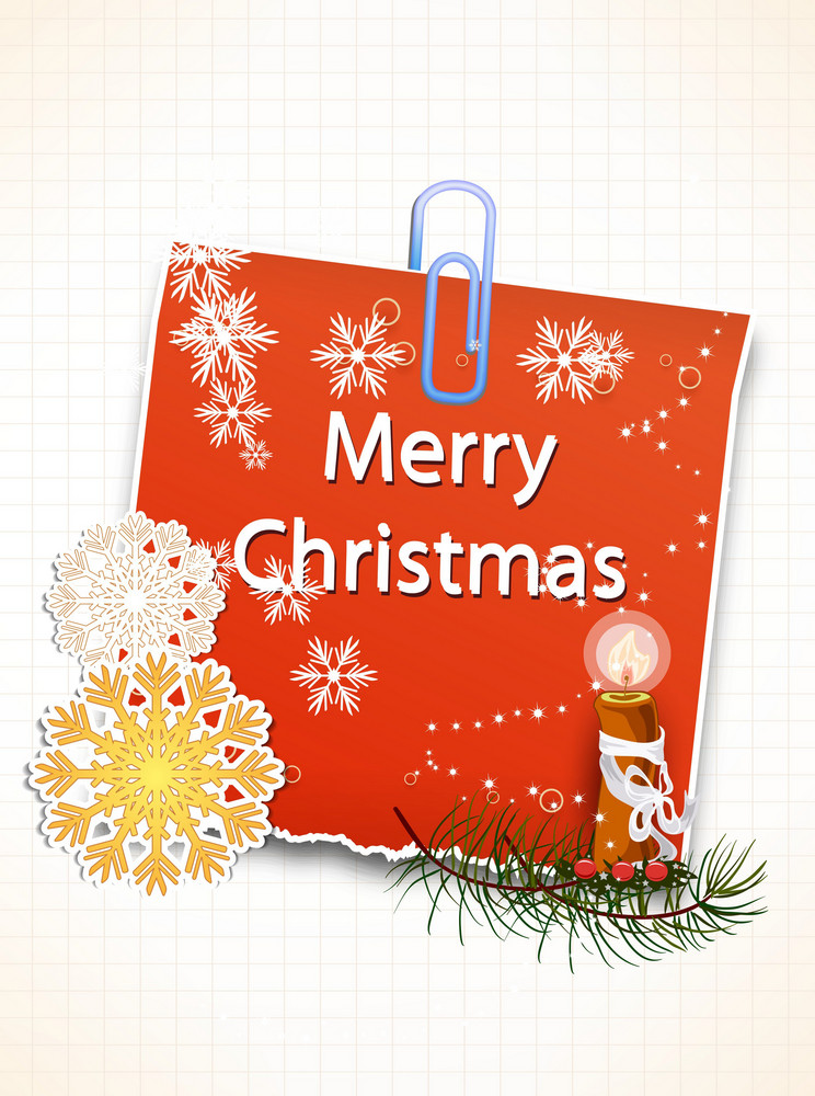 Christmas Vector Illustration With Sticker