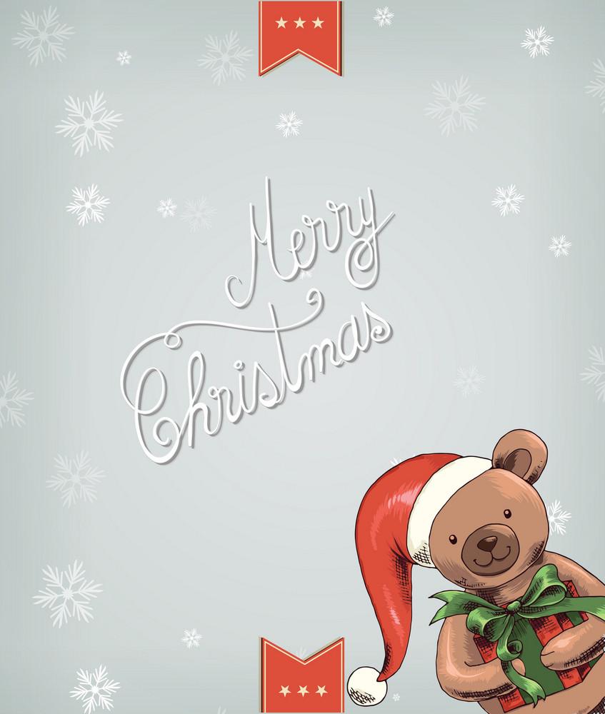 Christmas Vector Illustration With Teddy Bear