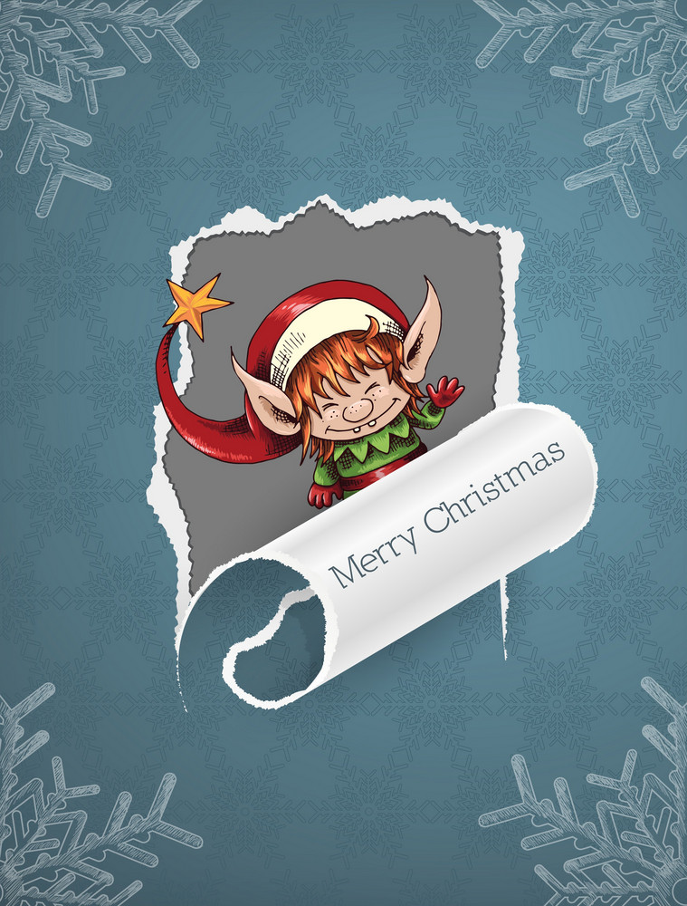 Christmas Vector Illustration With Torn Paper And Elf