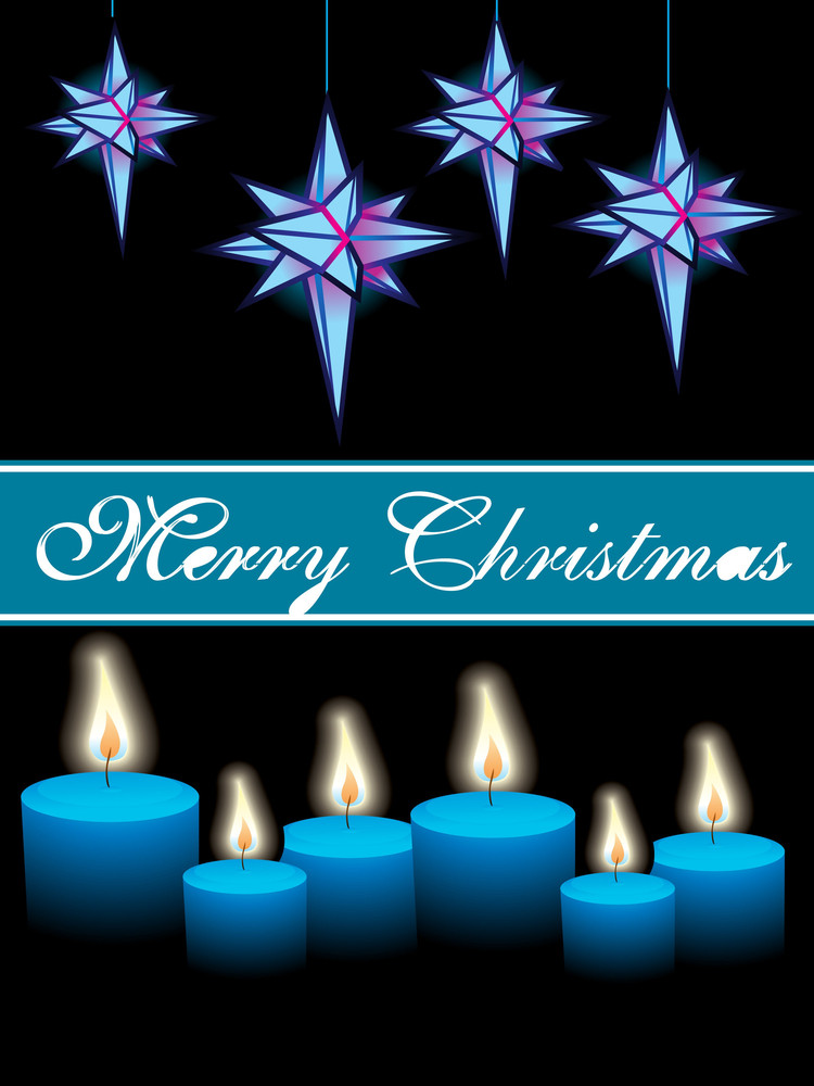 Christmas Vector With Candles And Hanging Stars