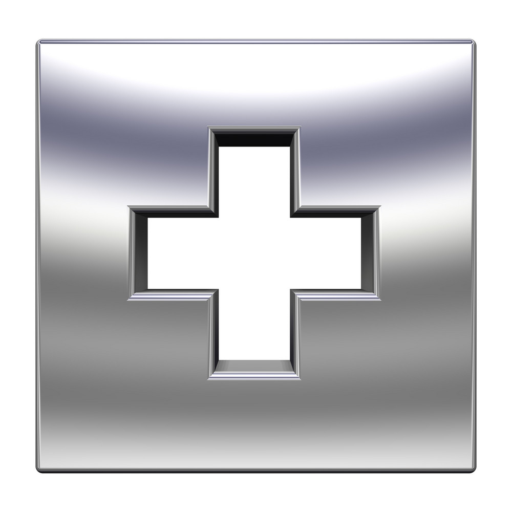 Chrome Cross In The Square Isolated On White