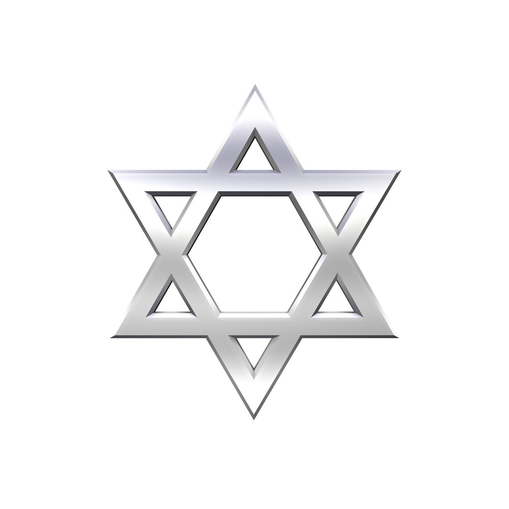 Chrome Judaism Religious Symbol - Star Of David Isolated On White.