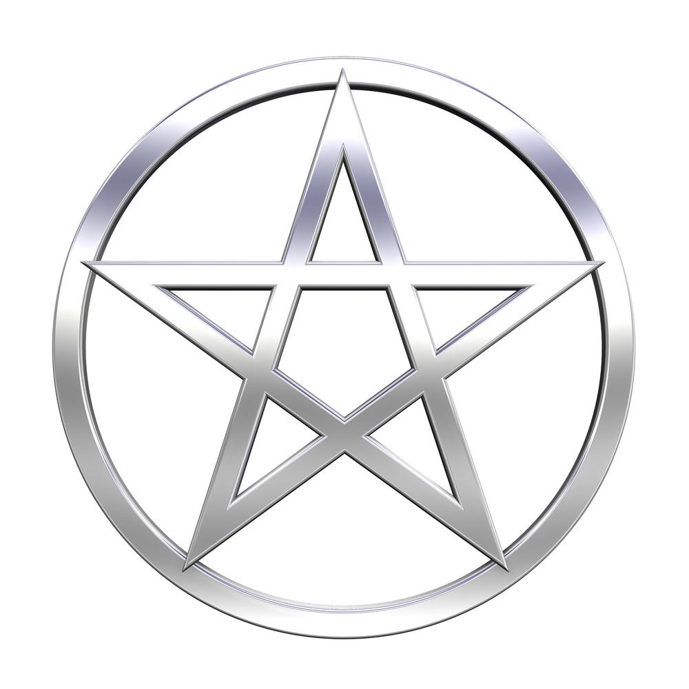 Chrome Pentagram Isolated On White.