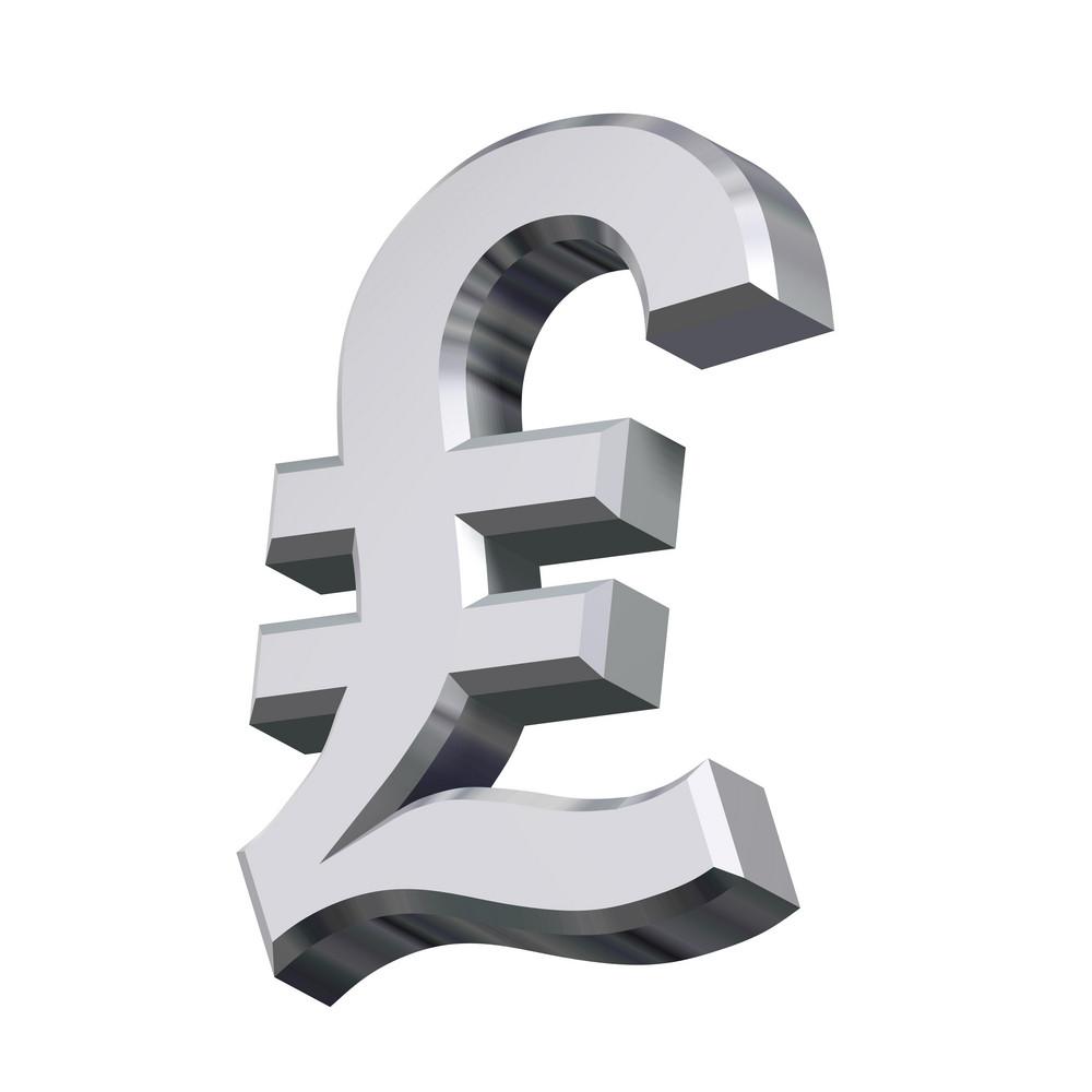 Chrome Pound Sign Isolated On White.