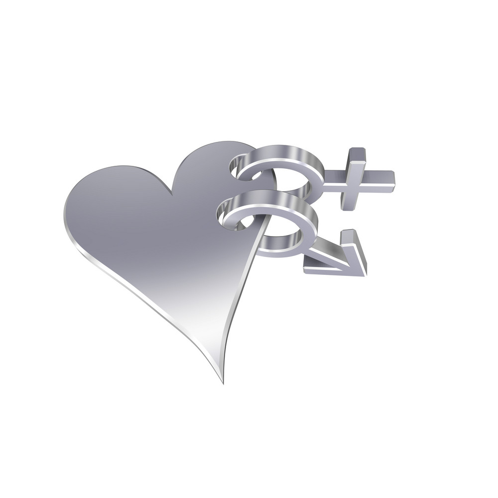 Chrome Sex Symbols Linked With Heart.