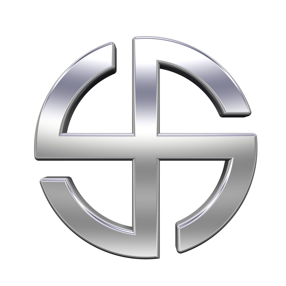 Chrome Sun Cross Symbol - Broken Crossed Circle Isolated On The White.