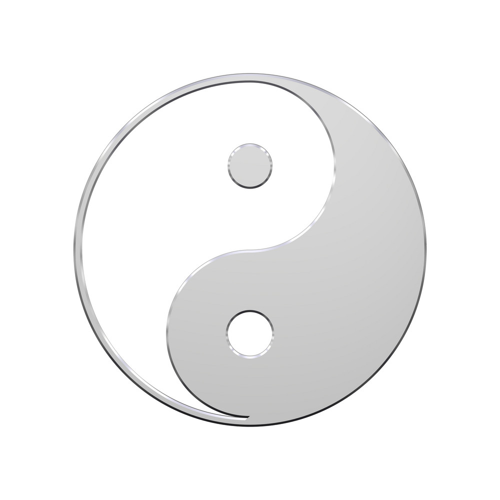 Chrome Yin-yang, Symbol Of Harmony.