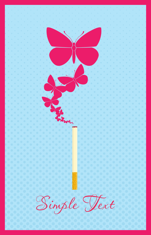 Cigarette With Butterflies Instead Of A Smoke. Abstract Vector Illustration.