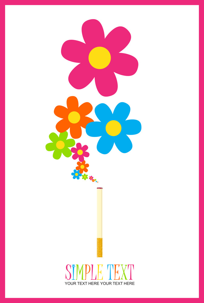 Cigarette With Flowers Instead Of A Smoke. Abstract Vector Illustration.