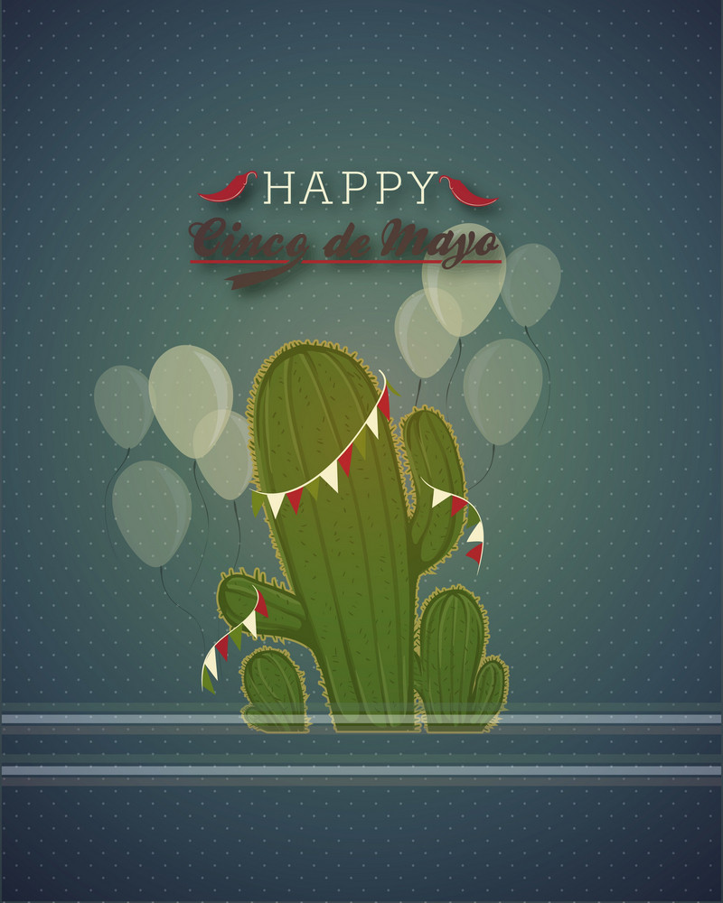 Cinco De Mayo Vector Illustration With Cactus Plant And Balloons