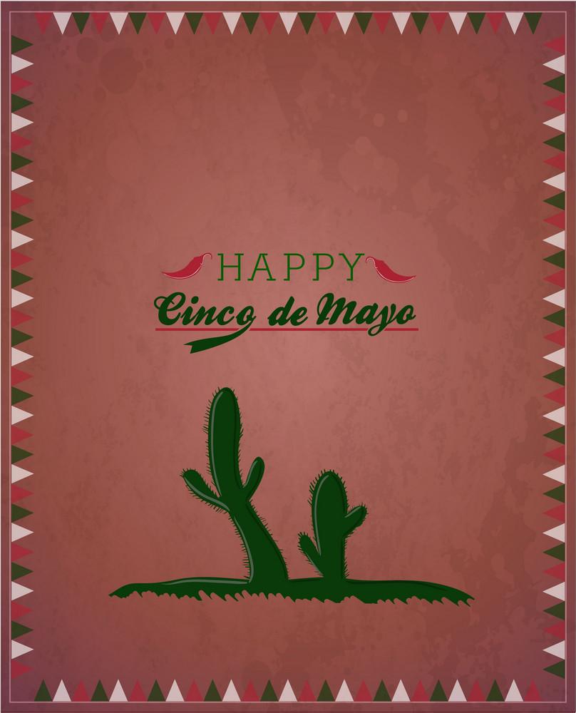 Cinco De Mayo Vector Illustration With Cactus Plant