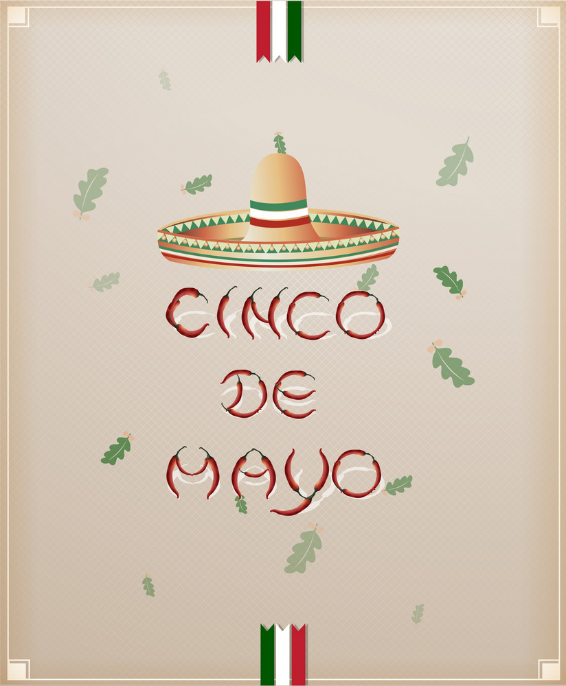 Cinco De Mayo Vector Illustration With Chilli And Hat