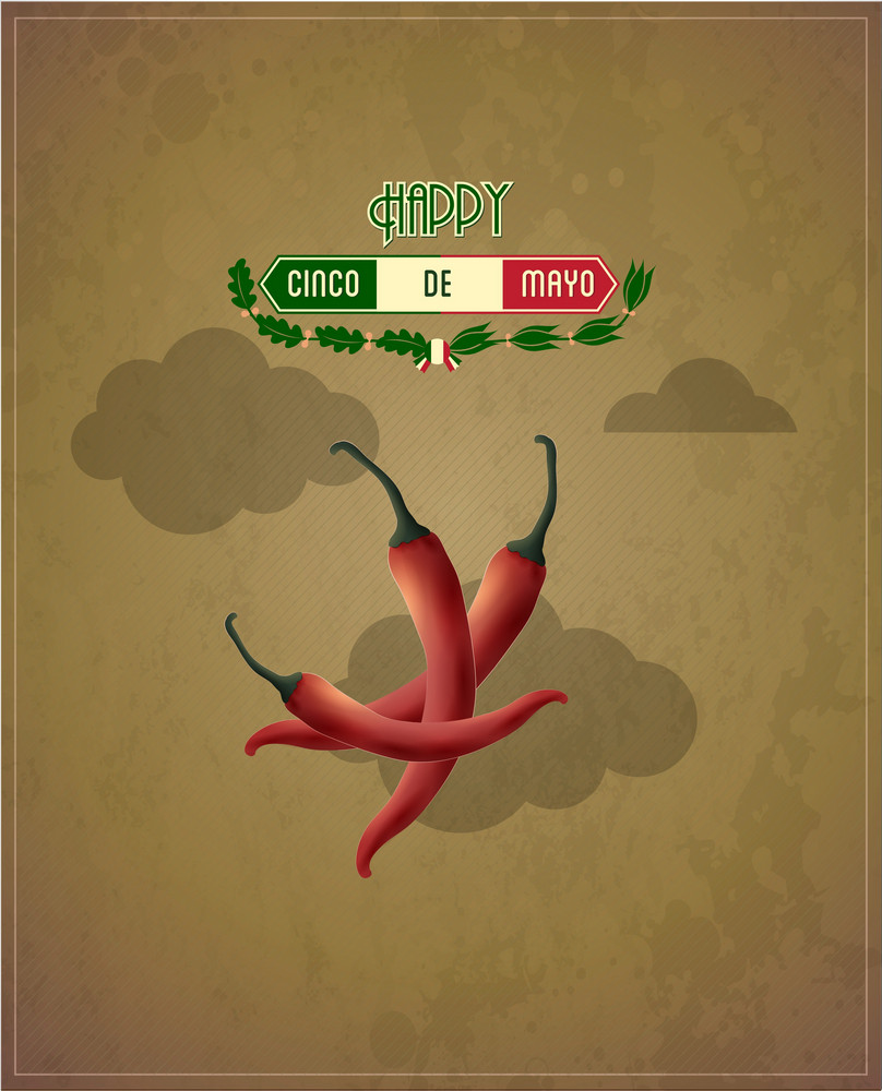 Cinco De Mayo Vector Illustration With Chilli, Clouds And Label
