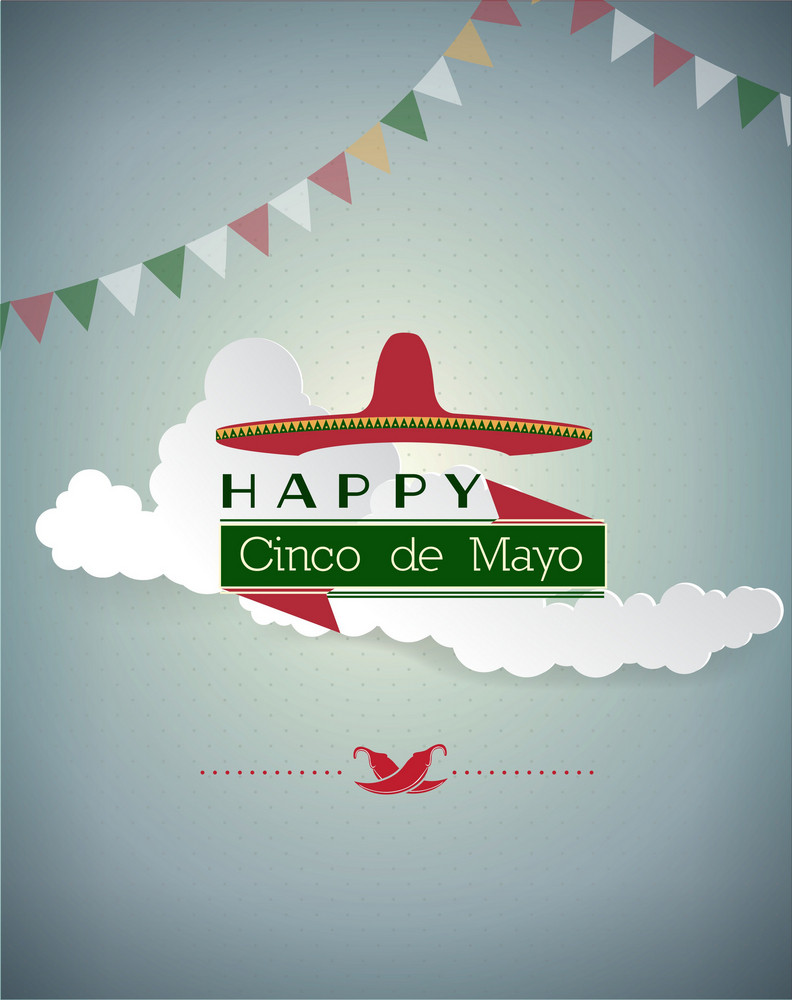 Cinco De Mayo Vector Illustration With Clouds,hat,label And Ribbon